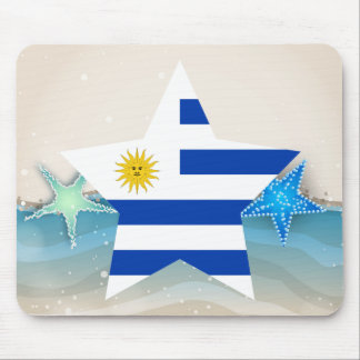 Cool Uruguay Flag at the Beach Mouse Pad