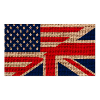 Cool usa union jack flags burlap texture effects business card templates