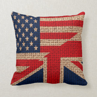 Cool usa union jack flags burlap texture effects cushion