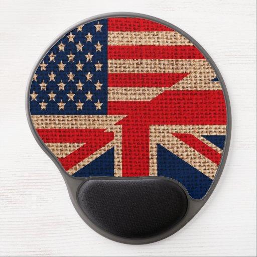 Cool usa union jack flags burlap texture effects gel mouse mat