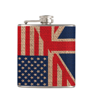 Cool usa union jack flags burlap texture effects hip flask