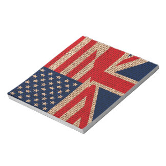 Cool usa union jack flags burlap texture effects notepad