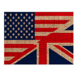 Cool usa union jack flags burlap texture effects post cards