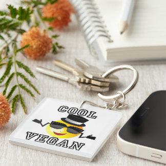 Cool Vegan Emoji Double-Sided Square Acrylic Key Ring