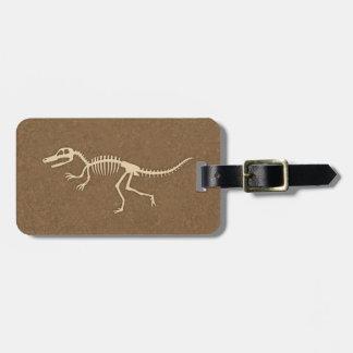 Cool Velociraptor Dinosaur Bones and Skeleton Luggage Tag