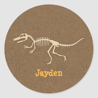 Cool Velociraptor Dinosaur Bones For Boys Classic Round Sticker