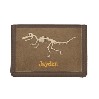 Cool Velociraptor Dinosaur Bones For Boys Trifold Wallet