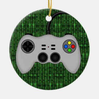 Cool Video Game Controller Vector in Grey Round Ceramic Decoration