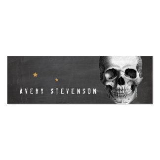 Cool Vinatge Skull Typographic Black Pack Of Skinny Business Cards