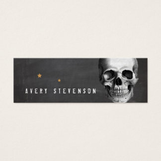 Cool Vinatge Skull Typographic Black Mini Business Card