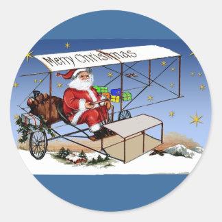 Cool Vintage Biplane Santa Claus Round Sticker