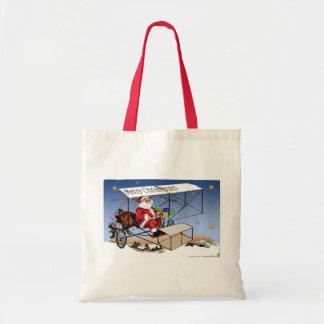 Cool Vintage Biplane Santa Claus Tote Bag