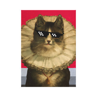 Cool vintage cat in sunglasses canvas print