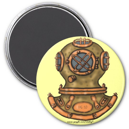 Cool vintage diving helmet graphic art magnet