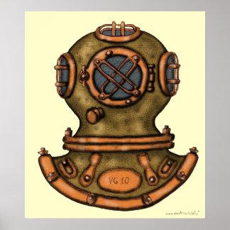 Cool vintage diving helmet graphic art poster