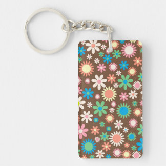 cool vintage floral colourful pattern key ring