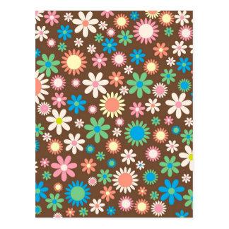 cool vintage Floral Flowery Retro Funky pattern Postcard