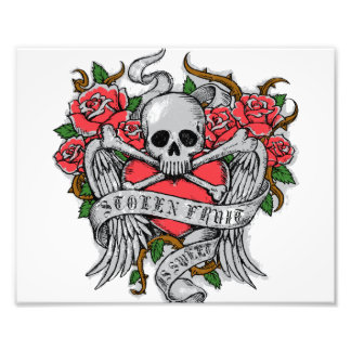 Cool Vintage flowery skull with wings Tattoo Art Photo