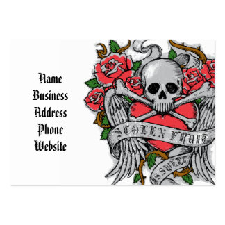 Cool  Vintage flowery skull with wings Tattoo Pack Of Chubby Business Cards