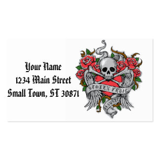 Cool  Vintage flowery skull with wings Tattoo Pack Of Standard Business Cards