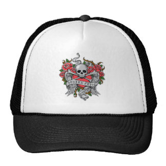 Cool  Vintage flowery skull with wings Tattoo Trucker Hat