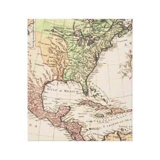Cool Vintage Geography New World Map Canvas Print