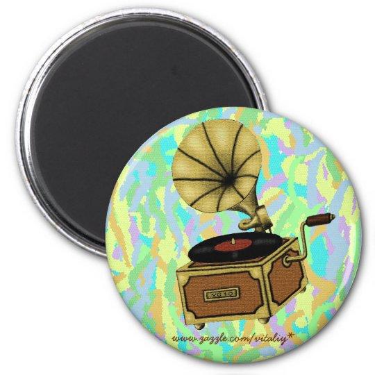 Cool vintage gramophone magnet design
