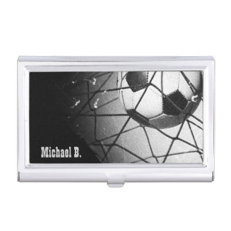 Cool Vintage Grunge Football in Goal Personalized Business Card Holder