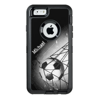 Cool Vintage Grunge Football in Goal Personalized OtterBox Defender iPhone Case