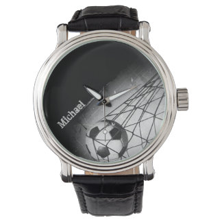 Cool Vintage Grunge Football in Goal Personalized Watch