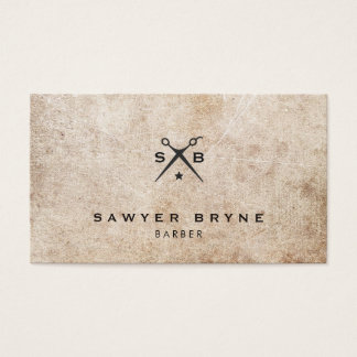 Cool Vintage Hair Stylist Barber Scissors Logo Business Card