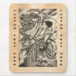 Cool vintage japanese samurai demon fight tattoo