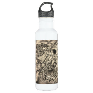 Cool vintage japanese samurai demon fight tattoo 710 ml water bottle