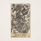 Cool vintage japanese samurai demon fight tattoo business card