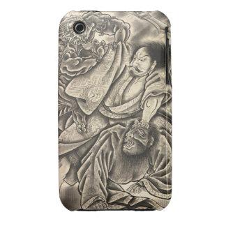 Cool vintage japanese samurai demon fight tattoo iPhone 3 cases