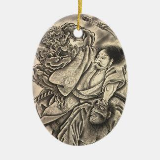 Cool vintage japanese samurai demon fight tattoo christmas ornaments