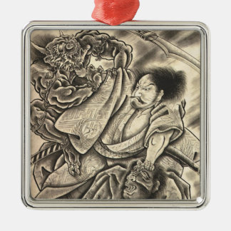 Cool vintage japanese samurai demon fight tattoo Silver-Colored square decoration
