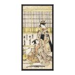 Cool vintage japanese ukiyo-e geisha old scroll gallery wrap canvas