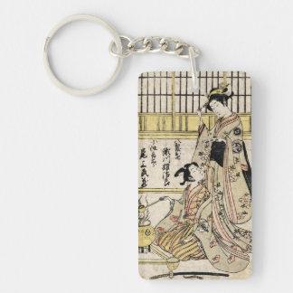 Cool vintage japanese ukiyo-e geisha old scroll Double-Sided rectangular acrylic key ring