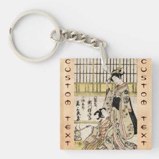 Cool vintage japanese ukiyo-e geisha old scroll Double-Sided square acrylic keychain