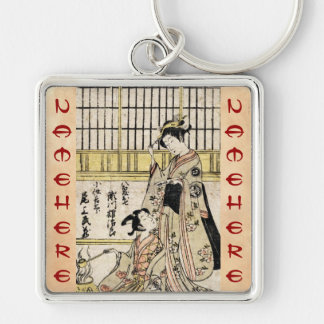 Cool vintage japanese ukiyo-e geisha old scroll Silver-Colored square key ring