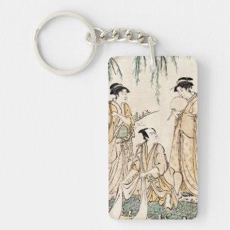 Cool vintage japanese ukiyo-e ladies old scroll Double-Sided rectangular acrylic key ring