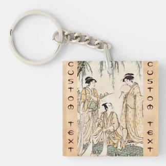 Cool vintage japanese ukiyo-e ladies old scroll Double-Sided square acrylic key ring