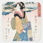 Cool vintage japanese ukiyo-e scroll geisha art square sticker