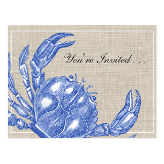 Cool Vintage Nautical Blue Crab Boil Custom Postcard