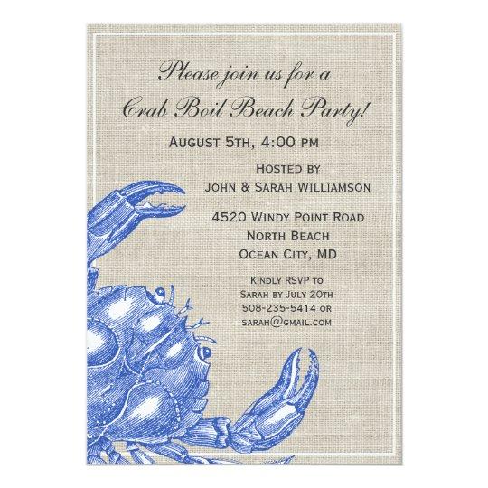 Cool Vintage Nautical Blue Crab Custom Beach Card