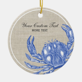 Cool Vintage Nautical Blue Crab Custom Beach Christmas Ornament