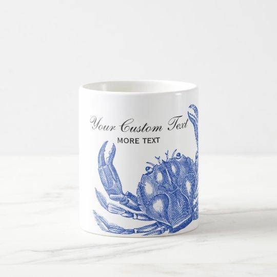 Cool Vintage Nautical Blue Crab Custom Beach Coffee