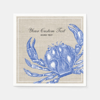 Cool Vintage Nautical Blue Crab Custom Beach Disposable Serviette
