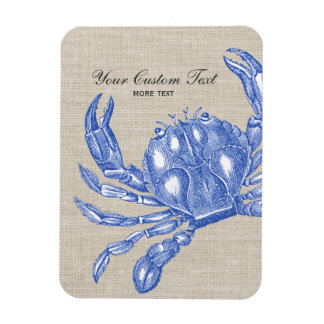 Cool Vintage Nautical Blue Crab Custom Beach Magnet